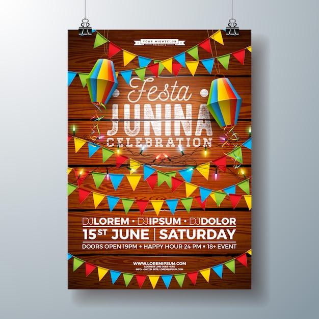 Festa junina party poster sjabloonontwerp met vlaggen en papieren lantaarn Premium Vector
