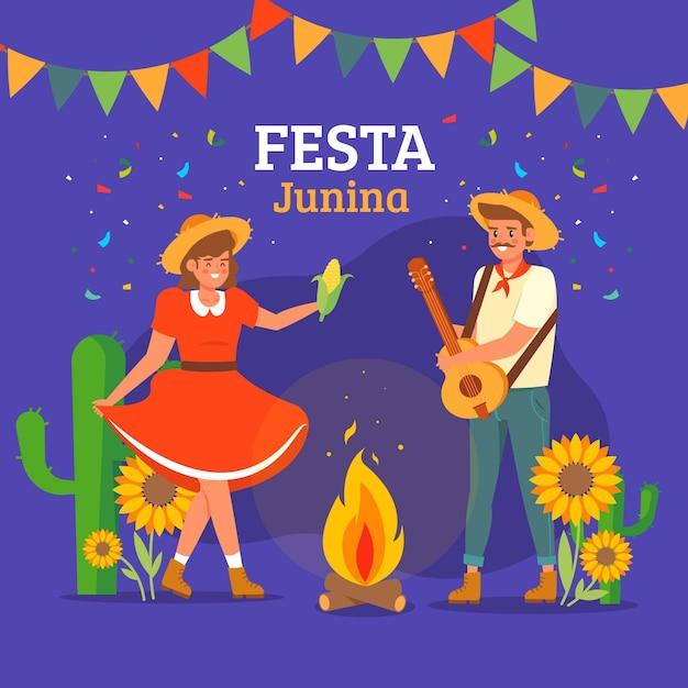 Festa junina platte ontwerp achtergrond Gratis Vector