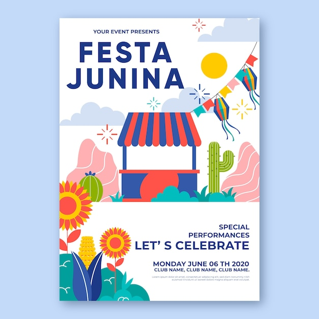 Festa junina poster sjabloon concept Gratis Vector