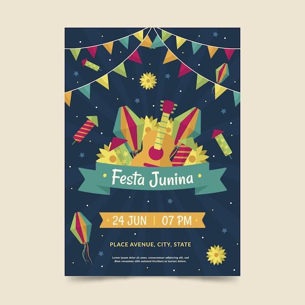 Festa junina poster sjabloon thema Gratis Vector