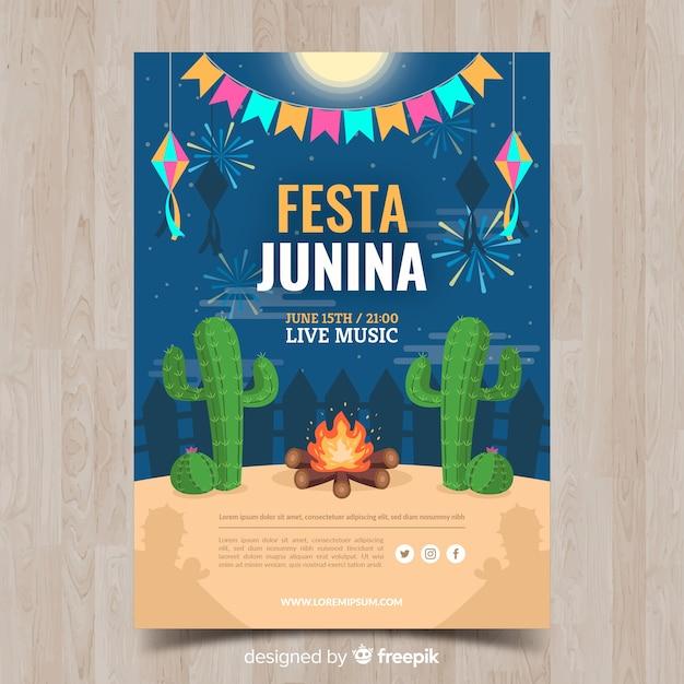 Festa junina-poster Gratis Vector
