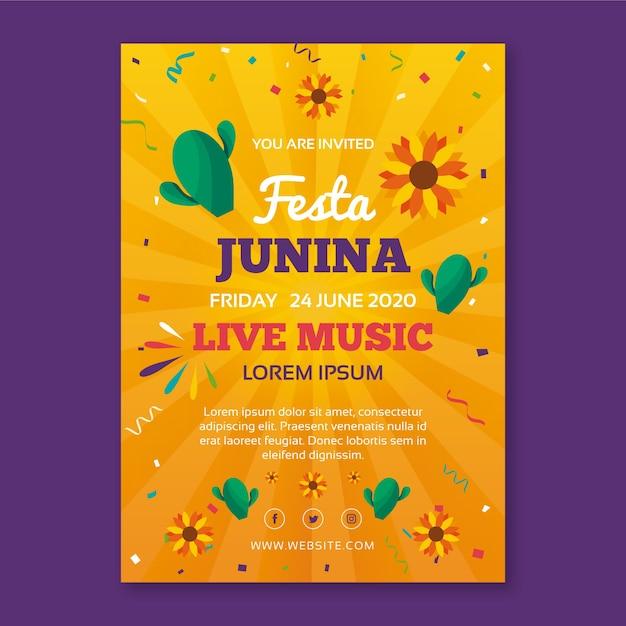 Festa junina-sjabloon voor flyerconcept Gratis Vector