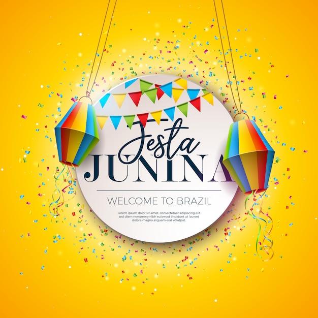 Festa junina traditional brazil festival design Premium Vector