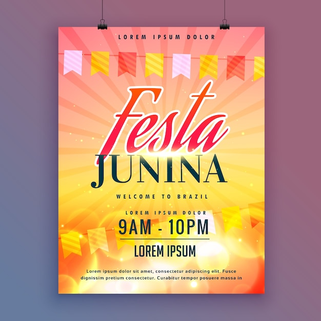 Festa junina uitnodigingskaart ontwerp vector Gratis Vector