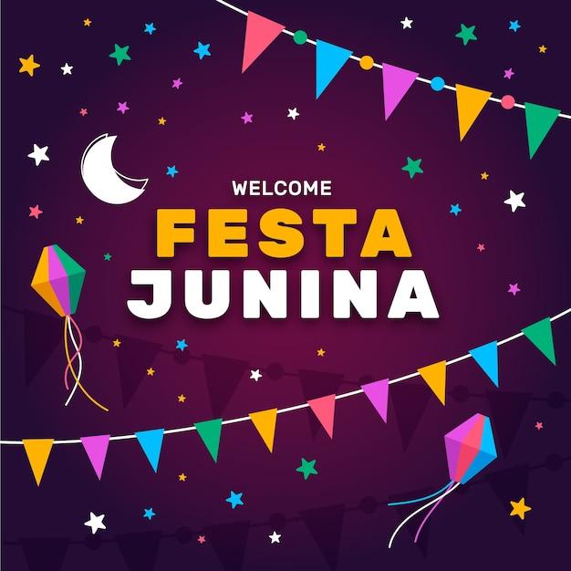 Festa junina viering concept Gratis Vector