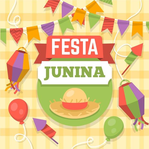 Festa junina viering ontwerp Gratis Vector