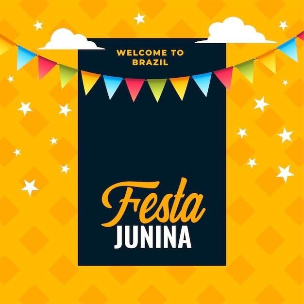 Festa junina-vieringsachtergrond van braziliaans festival Gratis Vector