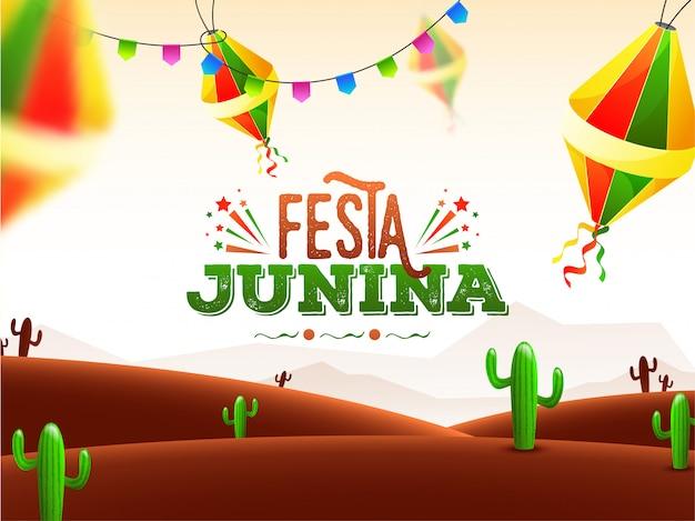 Festa junina-vieringsaffiche Premium Vector
