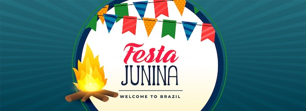 Festa junina vreugdevuur festival banner Gratis Vector