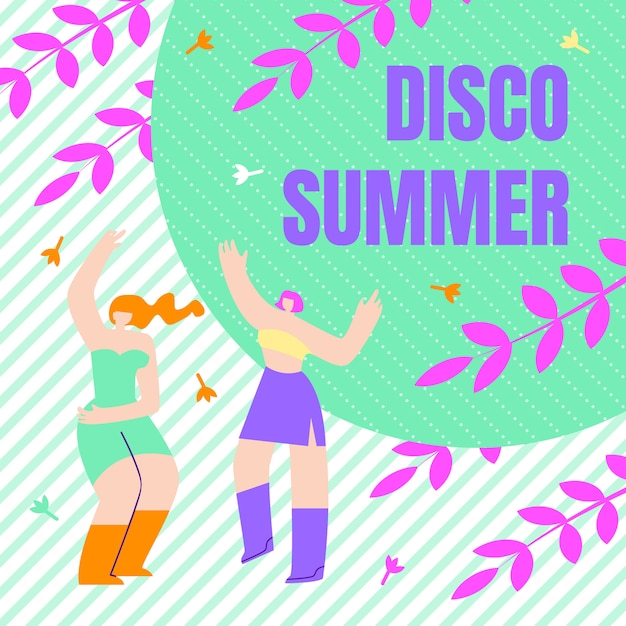 Festival flyer inscription disco zomer, plat. Gratis Vector