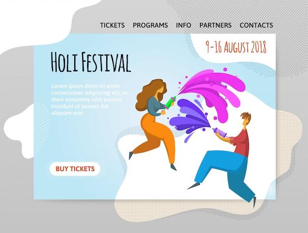 Festival van kleuren holi. gelukkige jongen en meisje gooien verf. illutration, sjabloon van de site, koptekst, spandoek of poster. Premium Vector