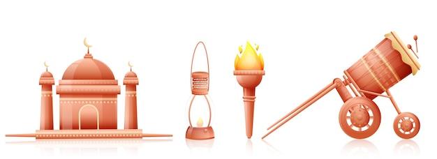 Festivalelementen zoals moskee, olielamp, vlammende fakkel, tabuh bedug (trommel) op witte achtergrond. Premium Vector