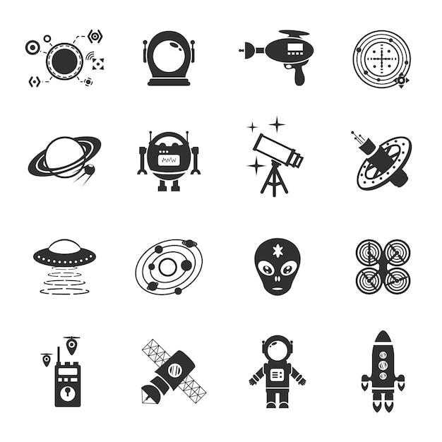 Fiction icons black set Premium Vector