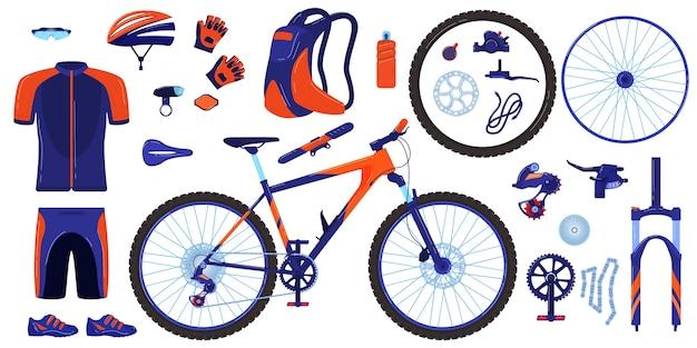 Fiets fiets vector illustratie set, cartoon platte cyclus onderdelen infographic elementen collectie wielrenner versnelling, sportkleding Premium Vector