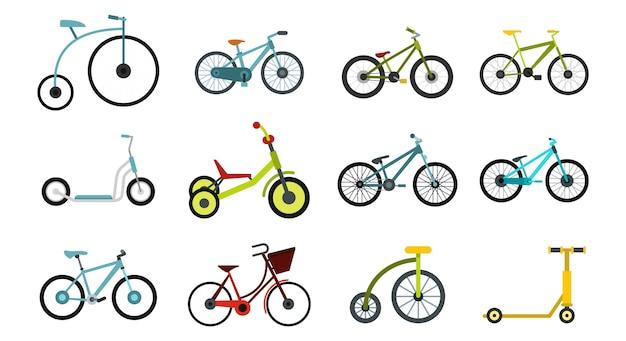 Fiets pictogramserie. vlakke set van fiets vector iconen collectie geïsoleerd Premium Vector