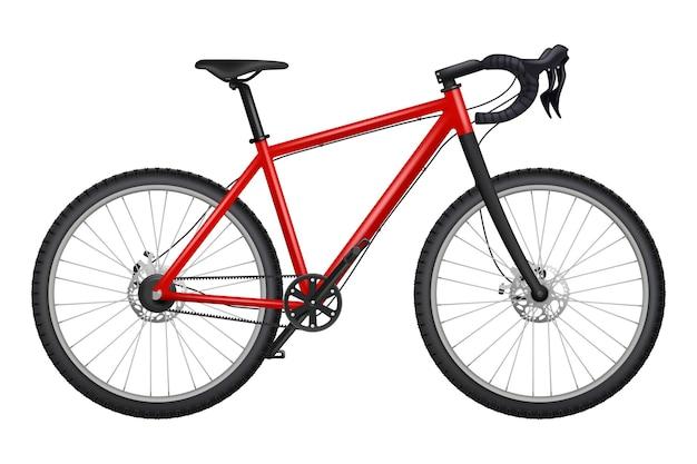 Fiets realistisch. fitness sport wegrace carbon fiets gedetailleerde foto's van kettingen roer pedalen banden transport. Premium Vector