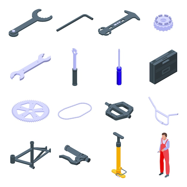 Fiets reparatie pictogrammen instellen. isometrische set fietsreparatie iconen voor web geïsoleerd op een witte achtergrond Premium Vector