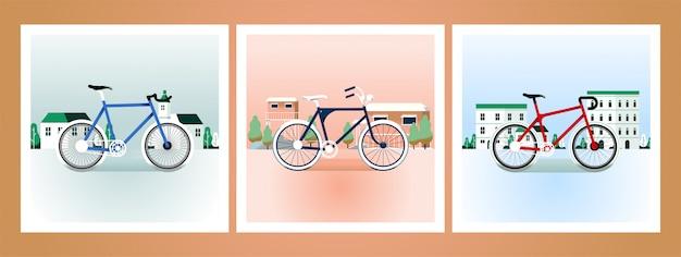 Fiets retro illustraties kaart Premium Vector