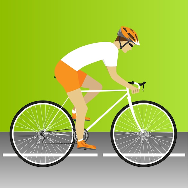 Fiets, weg, wielerwedstrijd, wielrennen, fiets, racefietswedstrijd. vector illustratie Premium Vector