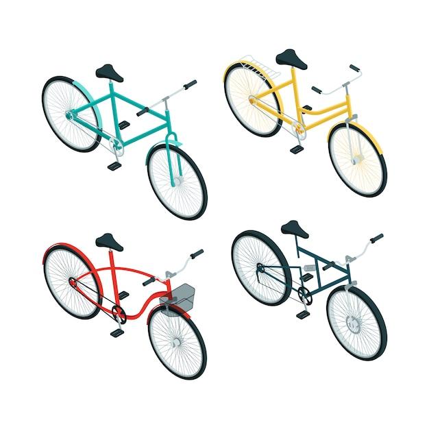 Fietsen isometrisch. verschillende soorten fietsen op wit Premium Vector