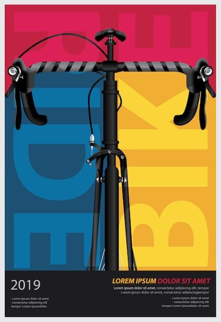 Fietsen poster ontwerpsjabloon vectorillustratie Premium Vector