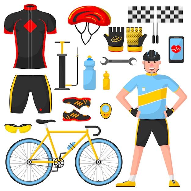 Fietser met verschillende fietsonderdelen. Premium Vector
