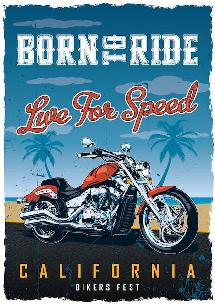 Fietsers fest poster met motorfiets op de weg met strand Gratis Vector