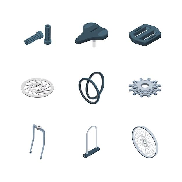 Fietsonderdelen. fietsen componenten mechanische zadel vork crank zetel hub isometrische iconen collectie Premium Vector