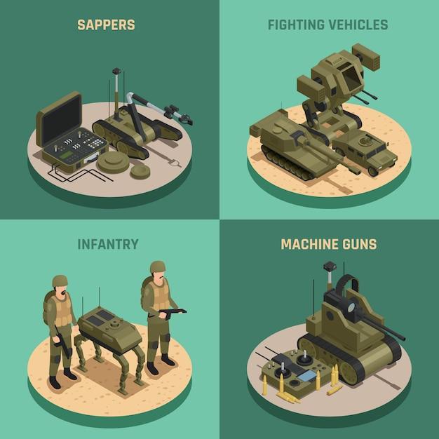 Fighting robots 2x2 design concept Gratis Vector