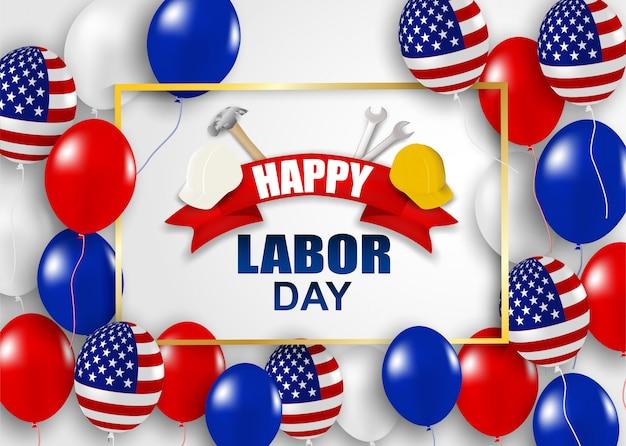 Fijne dag van de arbeid vs ontwerp met hamer, veiligheidshelm, moersleutel, ballonnen en amerikaanse vlag Premium Vector