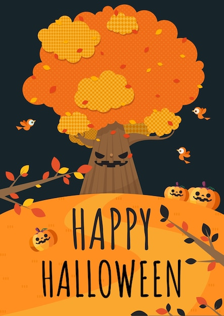 Fijne halloween. grote boom, vogels en pompoen in de tuin. Premium Vector