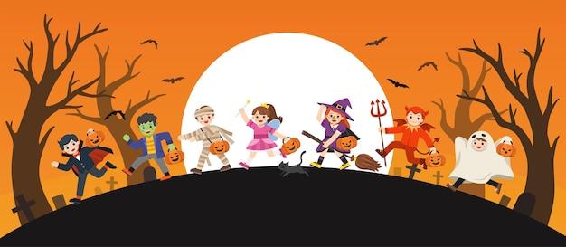 Fijne halloween. kinderen gekleed in halloween-kostuums om te gaan trick or treating.sjabloon voor reclamefolder. Premium Vector