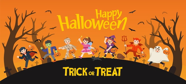 Fijne halloween. kinderen gekleed in halloween-kostuums om te gaan trick or treating.sjabloon voor reclamefolder. Premium Vector