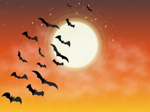 Fijne halloween. knuppels die op achtergrond van oranje volle maan vliegen. Premium Vector