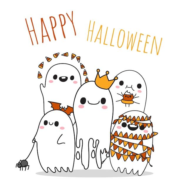 Fijne halloween met vijf kleine schattige geesten. Premium Vector
