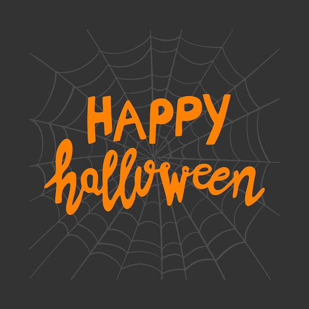 Fijne halloween. oranje handgeschreven letters op grijze spinnenwebschets op donkere achtergrond. Premium Vector