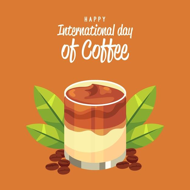 Fijne internationale dag van frappekoffie Gratis Vector