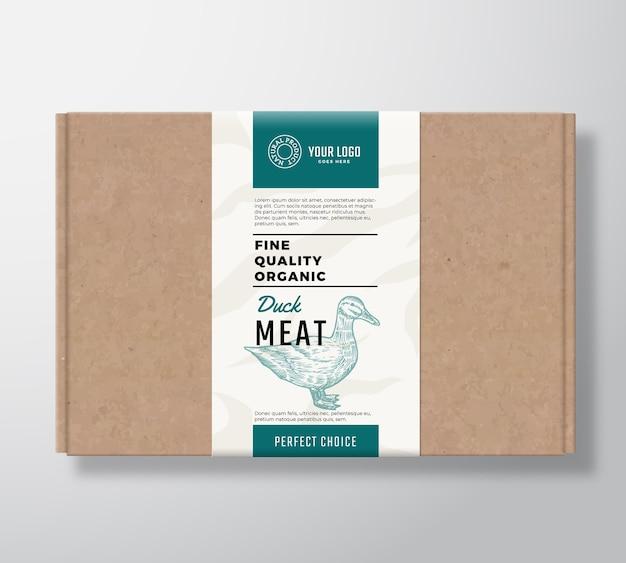 Fijne kwaliteit biologische gevogelte ambachtelijke kartonnen doos. Gratis Vector