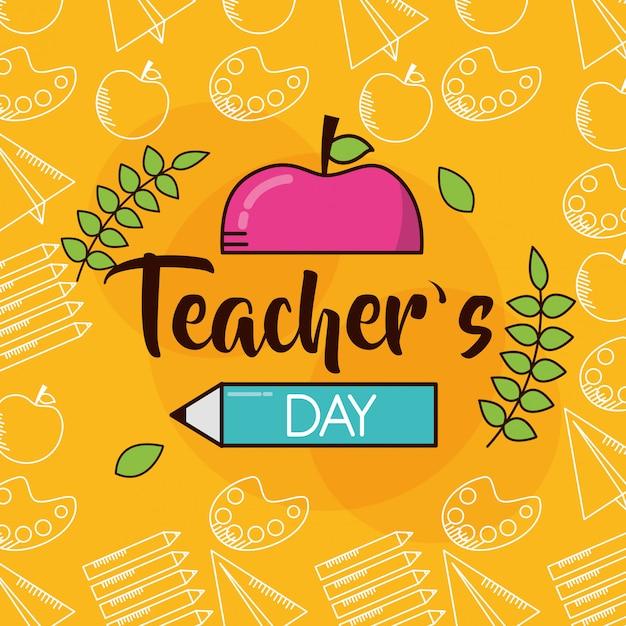 Fijne leraren dag Gratis Vector