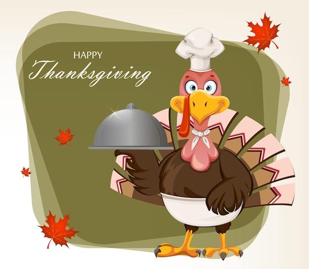 Fijne thanksgiving day. grappige turkije vogel Premium Vector