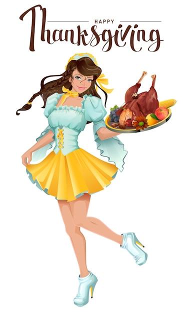 Fijne thanksgiving day. leuke meisjeskelner brengt een dienblad met gebraden kalkoen, groenten en fruit. geïsoleerd op wit cartoon afbeelding Premium Vector