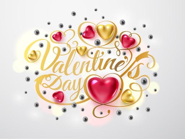 Fijne valentijnsdag. gouden lettertypesamenstelling met pijl, rode en gouden harten, zilveren parels die op achtergrond worden geïsoleerd. vector vakantie romantische illustratie. Premium Vector