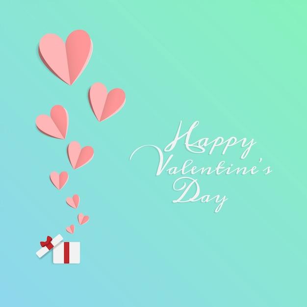 Fijne valentijnsdag. origami gesneden papier gemaakt open geschenkdoos met hart Premium Vector