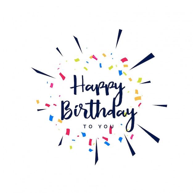 Fijne verjaardag belettering met confetti Gratis Vector