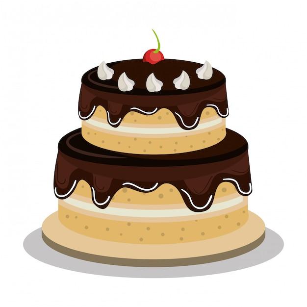 Fijne verjaardagstaart ontwerp Gratis Vector