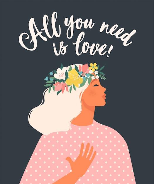 Fijne vrouwendag. illustratie met letters. alles wat je nodig hebt is liefde! Premium Vector