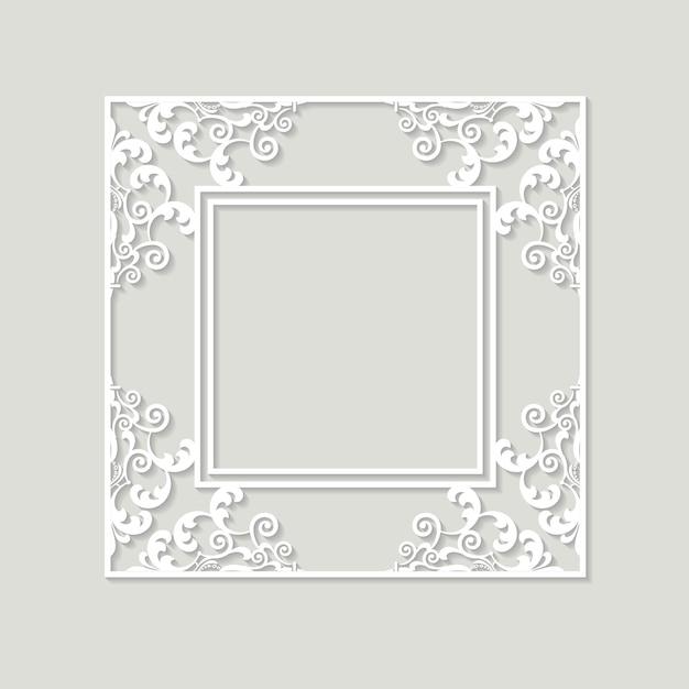 Filigraan frame papier uitgesneden. barok vintage ontwerp. Premium Vector