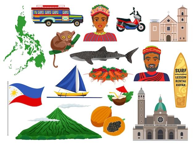 Filippijnen set reispictogrammen met dieren oriëntatiepunten traditionele gerechten en nationale kostuums geïsoleerd Gratis Vector