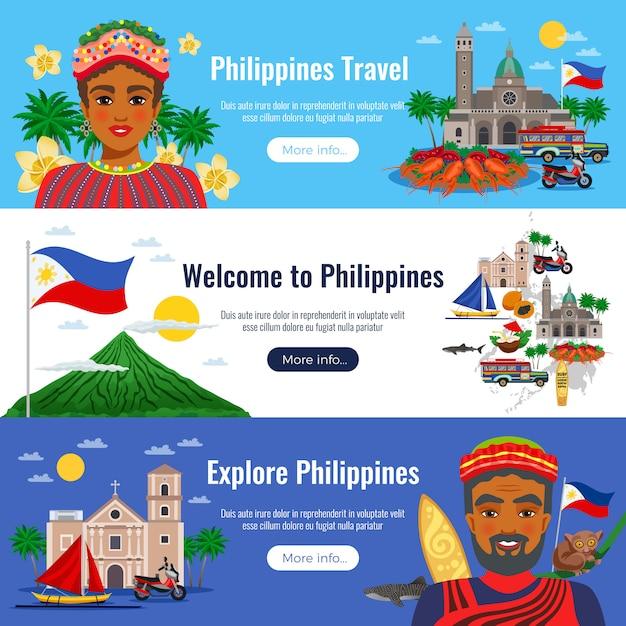 Filippijnen set van horizontale banners met reizen objecten en monumenten op blauw wit Gratis Vector