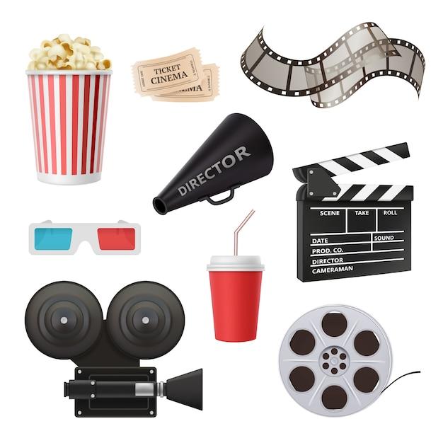Film 3d pictogrammen, camerabioscoop stereoglazen popcornklep en megafoon voor realistische filmproductie Premium Vector